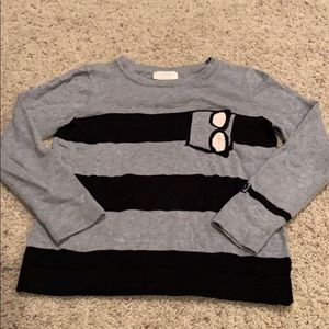 Girls Kate Spade Sweater Gray Stripe Sz 8 Y